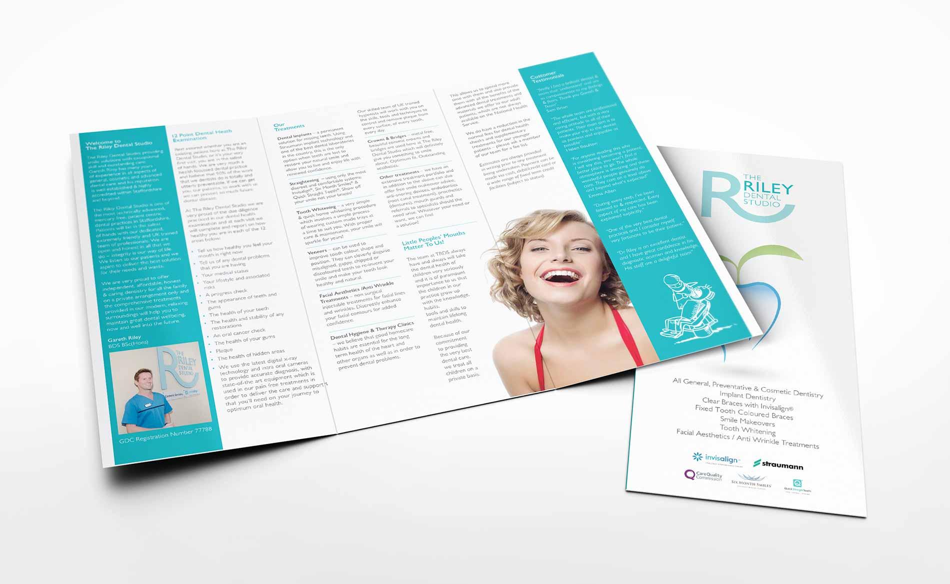 Digital Print, Riley Dental, Folded Leaflets, Stoke-on-Trent, Staffordshire