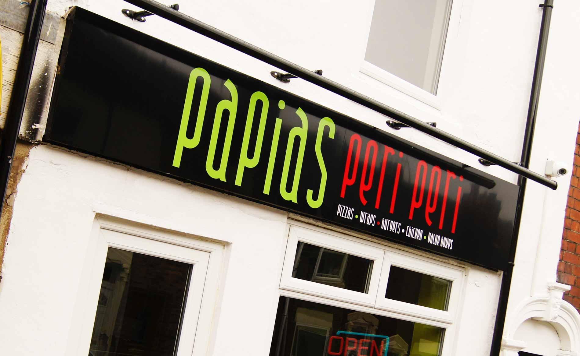 Signage, Papias Takeaway, Fascia Shop Signage, Stoke-on-Trent, Staffordshire