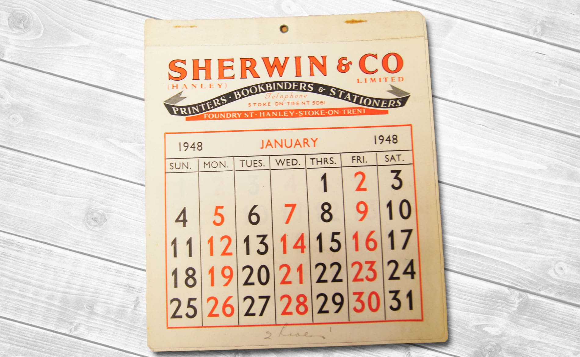 Sherwin Rivers Printers Ltd - Stoke-on-Trent, Staffordshire, Family run printing company for over a century - Letterpress Calendar from 1948