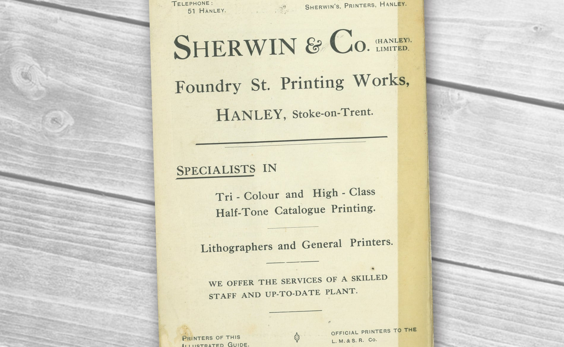 Sherwin Rivers Printers Ltd - Stoke-on-Trent, Staffordshire, Family run printing company for over a century - Advert from Picturesque Staffordshire